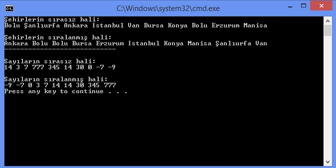 C# Array Sort Kullanımı